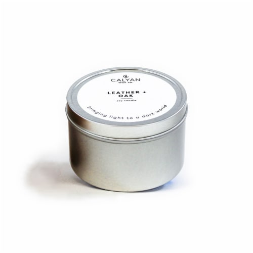 Calyan Wax Co. Leather + Oak Metal Tin Soy Candle Perspective: front