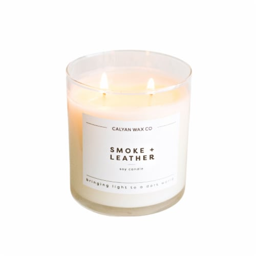 Calyan Wax Co. - Leather + Oak Glass Soy Candle - White Perspective: front