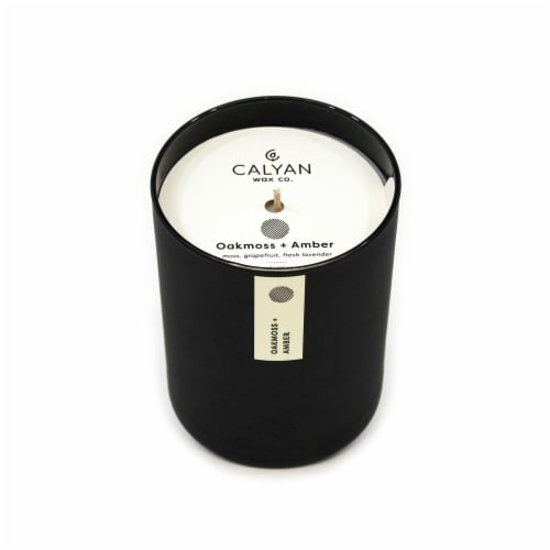 Calyan Wax Co. Oakmoss + Amber Matte Black Glass Soy Candle Perspective: front