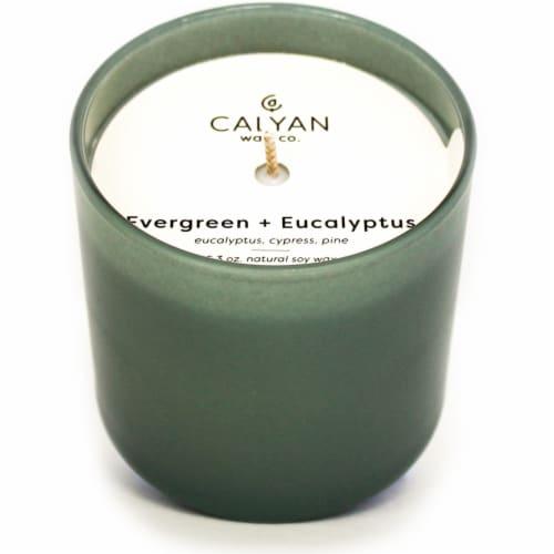 Calyan Wax Co. Evergreen+Eucalyptus Jar Candle Perspective: front