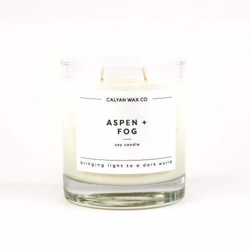 Calyan Wax Co. Aspen + Fog Glass Soy Candle - White Perspective: front