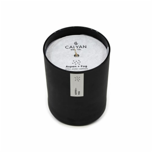 Calyan Wax Co. Aspen + Fog Matte Black Glass Soy Candle Perspective: front