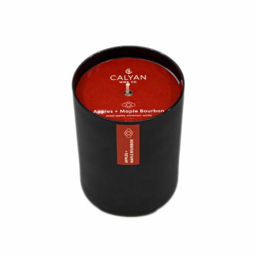 Calyan Wax Co. Apples + Maple Bourbon Matte Black Glass Soy Candle Perspective: front