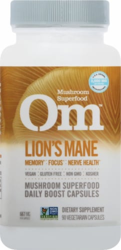 Om Mushroom Lion's Mane Mushroom Superfood Capsules 90 Count Perspective: front