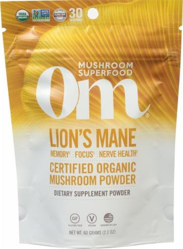 OM Lion's Mane Organic Gluten Free Mushroom Superfood Powder Perspective: front
