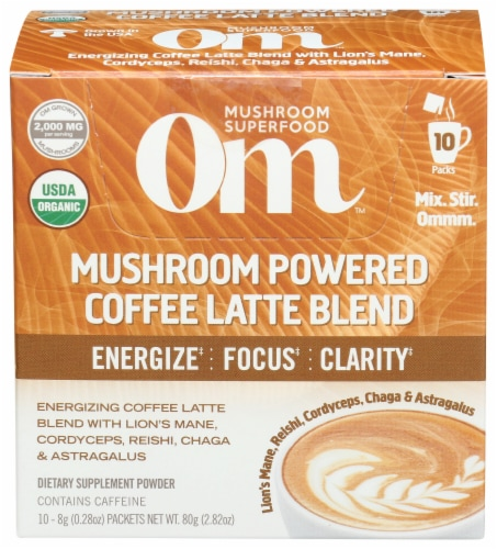 Om Mushroom Powered Coffee Latte Blend Packets Perspective: front