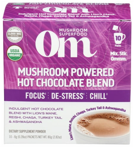 Om Mushroom Powered Hot Chocolate Packets Perspective: front