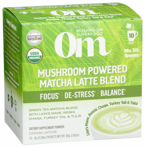 Om Mushroom Powered Matcha Latte Blend Packets Perspective: front