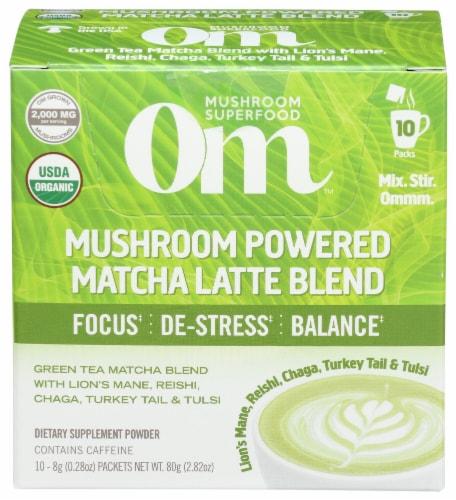 Om Mushroom Powered Matcha Latte Blend Packets Perspective: front