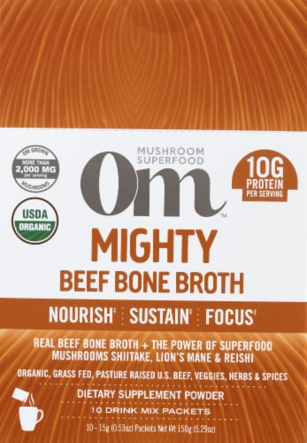 Om Mushroom Mighty Beef Bone Broth Packets 10 Count Perspective: front