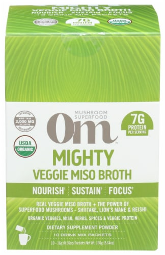 Om Mushroom Mighty Veggie Miso Broth Packets 10 Count Perspective: front