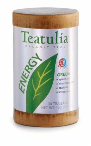 Teatulia Organic Energy Green Tea Bags Perspective: front