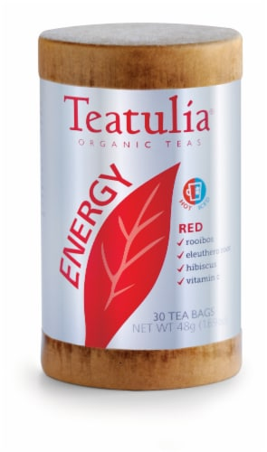 Teatulia Organic Energy Red Tea Bags Perspective: front