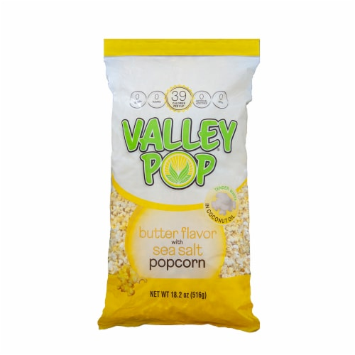 Valley Popcorn Butter Flavored Popcorn with Sea Salt Perspective: front