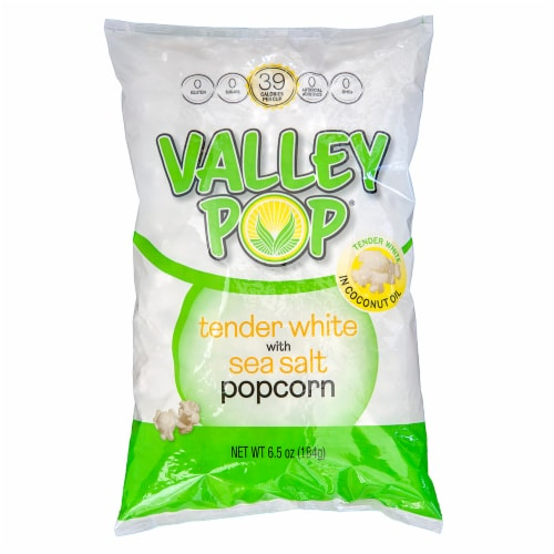 Valley Popcorn Tender White Sea Salt Popcorn Perspective: front
