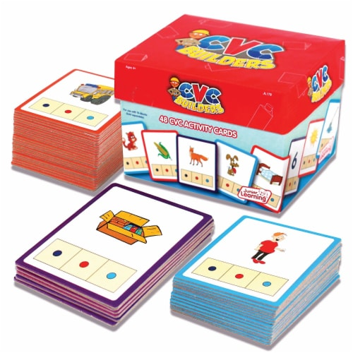 Junior Learning JRL178 Cvc Builders Activity Cards, Set of 48 Perspective: front