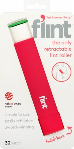 Flint™ Retractable Pink Lint Roller Perspective: front