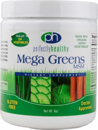 Perfectly Healthy  Mega Greens MSM™ Powder Perspective: front