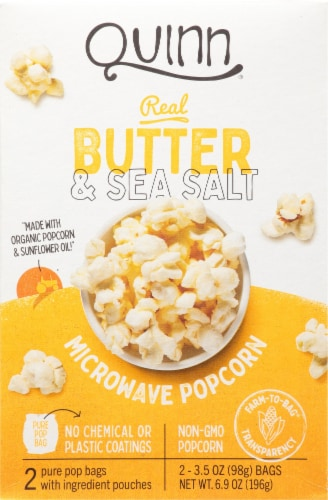 Quinn Butter & Sea Salt Microwave Popcorn Perspective: front