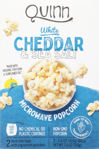 Quinn White Cheddar & Sea Salt Microwave Popcorn Perspective: front