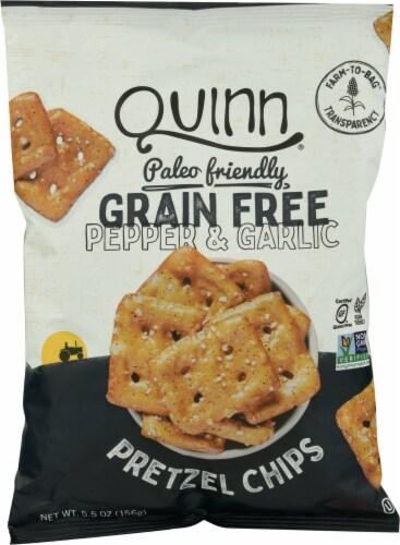 Quinn Grain Free Cracked Pepper and Sea Salt Pretzel Chips Perspective: front