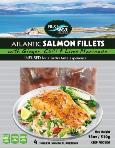 Next Wave Seafood Salmon Fillets with Ginger, Chili & Lime Marinade Perspective: front