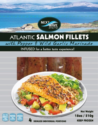 Next Wave Seafood Salmon Fillets with Pepper & Wild Garlic Marinade Perspective: front