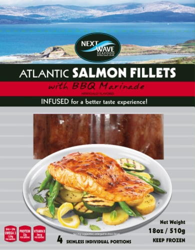 Next Wave Seafood Salmon Fillets with BBQ Marinade Perspective: front