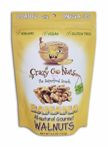 Crazy Go Nuts Banana Flavored All-Natural Gourmet Walnuts Perspective: front