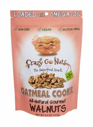 Crazy Go Nuts Oatmeal Cookie All-Natural Gourmet Walnuts Perspective: front