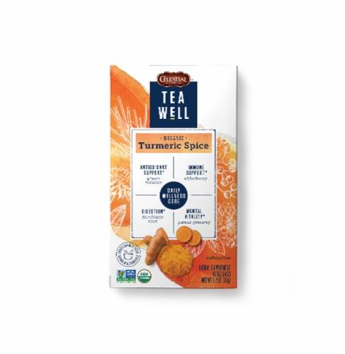 Celestial Seasonings Tea Well Turmeric Spice Herbal Supplement Tea Bags Perspective: front