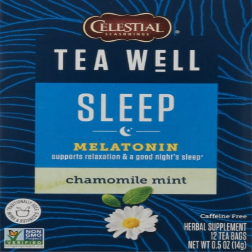 Celestial Seasonings® Tea Well Chamomile Mint Sleep Herbal Supplement Tea Perspective: front