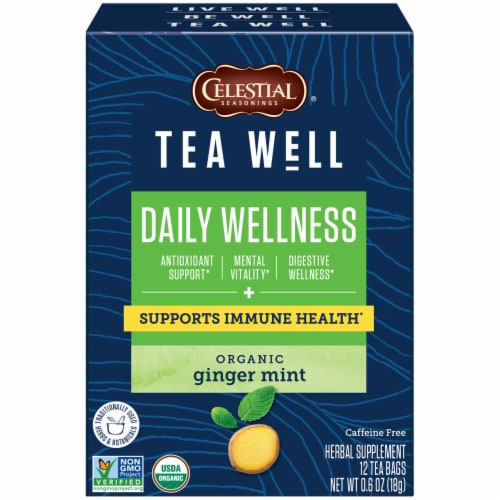 Celestial Seasonings Tea Well Ginger Mint Herb Tea Perspective: front