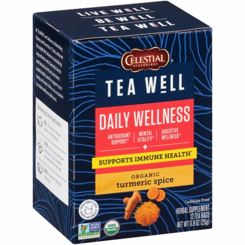 Celestial Seasonings Tea Well Turmeric Spice Herb Tea Perspective: front
