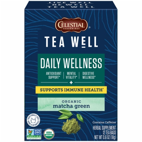 Celestial Seasonings Tea Well Matcha Green Herb Tea Perspective: front