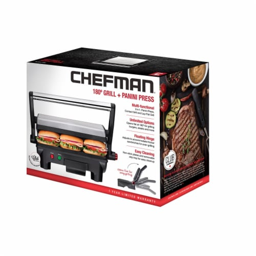 Chefman Grill and Panini Press - Black/Silver Perspective: front