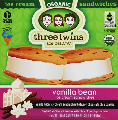 Three Twins Vanilla Bean Ice Cream Sandwiches Perspective: front