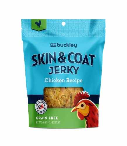 Buckley Pet Skin & Coat Chicken Jerky Grain Free Dog Treats Perspective: front