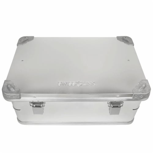 Swiss Link Custom Industrial Aluminum Lidded Storage Box for Tools, Small Silver Perspective: front