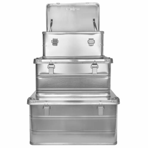 Swiss Link Custom Industrial Nesting Aluminum Storage Boxes, Silver (3 Pack) Perspective: front