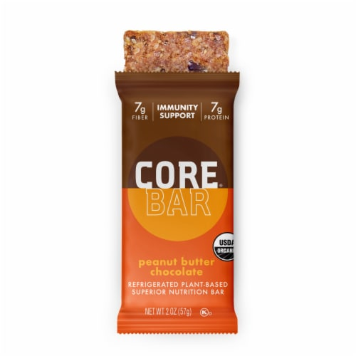 CORE Organic Refrigerated Plant-Based Protein Immunity Bar with Probiotics - Peanut Butter Chocolate Perspective: front