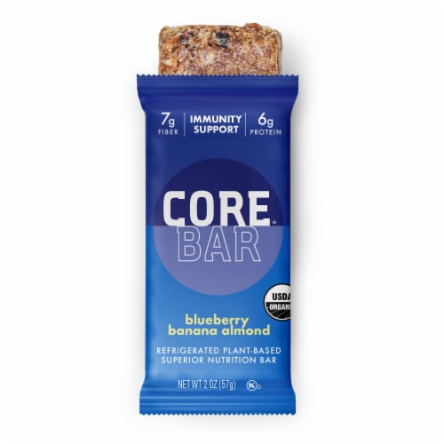 CORE Organic Refrigerated Plant-Based Protein Immunity Bar with Probiotics - Blueberry Banana Almond Perspective: front