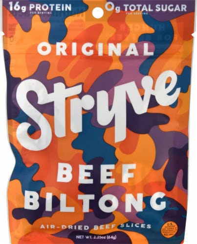 Stryve Original Beef Biltong Air-Dried Beef Slices Perspective: front
