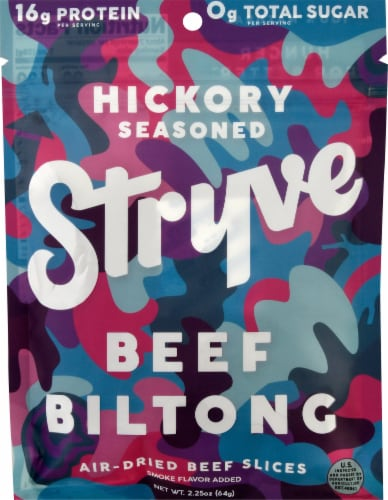 Stryve Hickory Seasoned Beef Biltong Air-Dried Beef Sticks Perspective: front