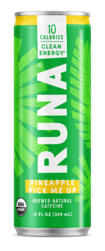 Runa Clean Pineapple Energy Drink Perspective: front