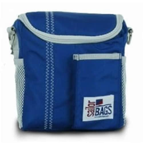 Sailor Bags Lunch Bag  Nautical  Blue with Grey Trim Perspective: front