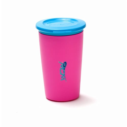 Wow Cup for Kids Original 360 Sippy Cup, Pink with Blue Lid, 9 oz Perspective: front