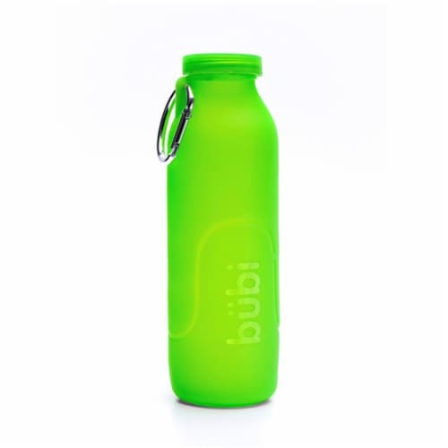 Bubi Brands BB100SG454 35oz & 1000 ml Foldable Water Bottle Rose, Seaweed Green Perspective: front
