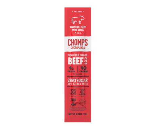 Chomps Chomplings Grass Fed & Finished Mild Original Beef Mini Stick Perspective: front