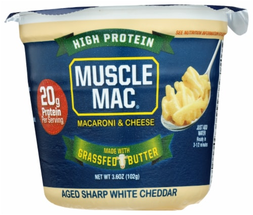Muscle Mac Pro Aged White Cheddar Macaroni & Cheese Single Serve Cup Perspective: front